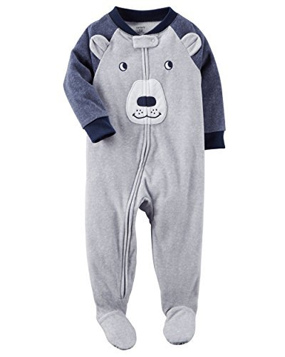 Blue Carters Fleece (Carter's Boys' 12M-4T Blue Bear Face Fleece Pajamas Gray 24 Months)
