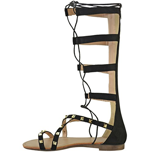 Fashion Thirsty New Womens Ladies Flat Studded Lace Up Rolling Gladiator Knee High Sandals Size Black Faux Suede 26CPYnB