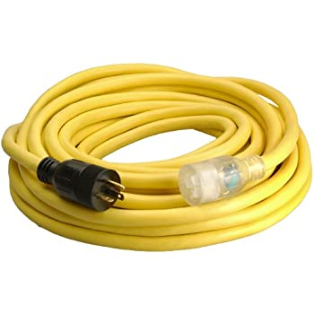 Coleman Cable 026188802 20-Amp Generator Cord 5-20P to 5-20R, Lighted, 50-Feet
