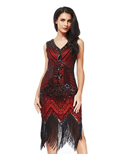 Women's 1920s Art Deco Flapper Dresses- Vintage Inpired Sequin beaded Fringed Great Gatsby Dresses (L, (Red 1920s Dress)