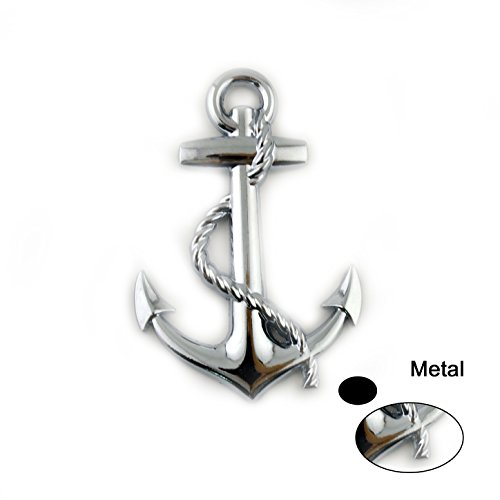 General Silver Metal Anchor Logo Styling Decoration Car Badge Emblem ()