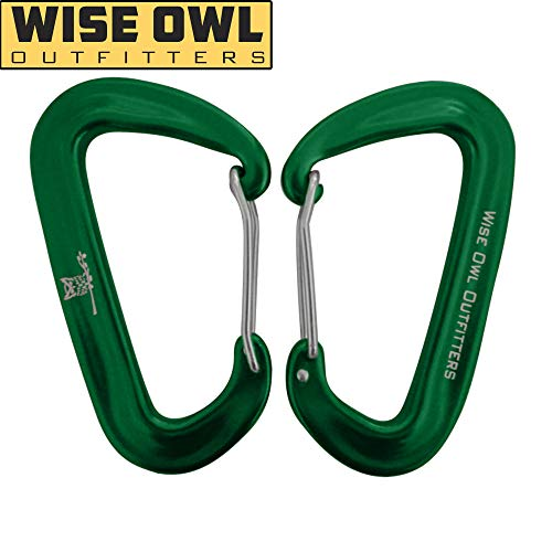 Wise Owl Outfitters Wiregate Carabiner Clip Set 12 KN Heavy Duty, Lightweight Aircraft Grade Aluminum - Great Gear for Hammock Camping - Wise Owl WiseClips - Green