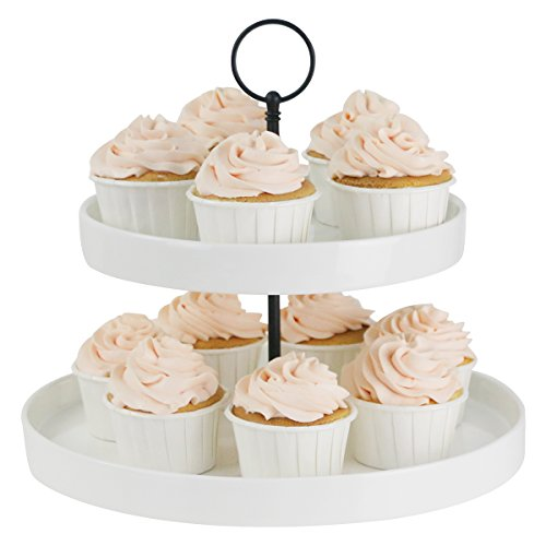 Sweese Cupcake Stand - 2 Tier Porcelain Dessert Platter, Ivory White