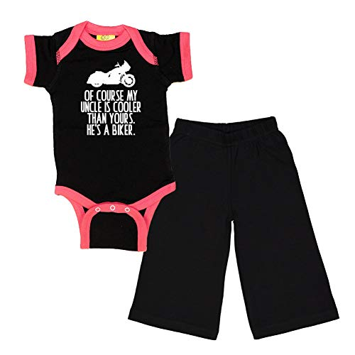 Mashed Clothing - of Course My Uncle is Cooler Than Yours. He's A Biker. (Motorcycle) - Baby Ringer Bodysuit & Pant Gift Set (Black/Hot Pink Ringer, Black Pant, 6 Months)