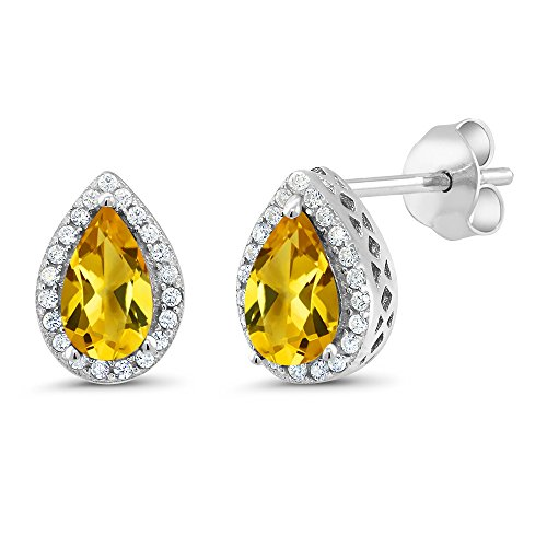(Gem Stone King 1.80 Ct Pear Shape Yellow Citrine 925 Sterling Silver)