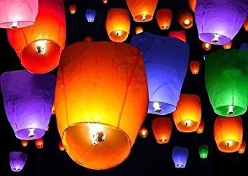 50 Chinese Paper Sky Flying Wishing Lantern Lamp Candle P...