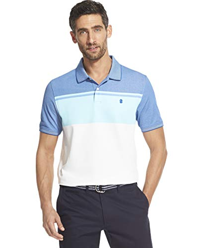 IZOD Men's Advantage Performance Short Sleeve Colorblock Polo, True Blue, Medium