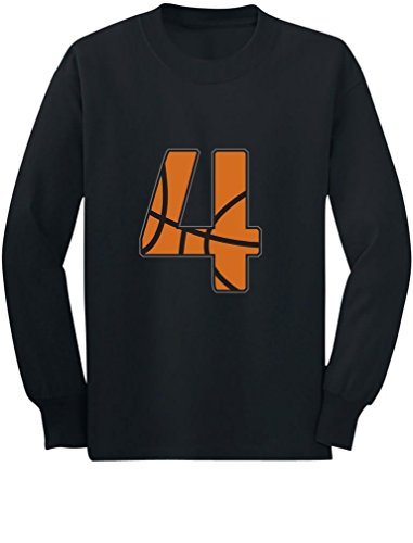 Basketball 4th Birthday Gift for Four Year Old Toddler/Kids Long Sleeve T-Shirt 5/6 Black