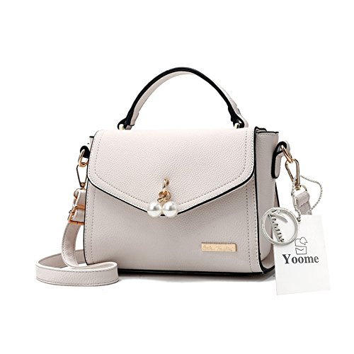 Yoome Elegant Pearl Pendant Hanging Bag Lichee Pattern Stylish Handbags For Girls - Gray Cream