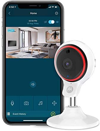 White Motorola Focus 71 Full HD 1080p Wireless Indoor Camera with Manual Tilt /& Digital Zoom and Wi-Fi Hubble Connected App for Smartphones or Tablets