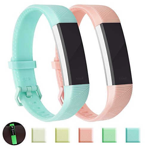 Fundro Compatible with Fitbit Alta HR Bands, Newest Sport Replacement Wristbands Secure Metal Buckle Fitbit Alta HR/Fitbit Alta (B# 2-Pack Pink+Light Blue, Large)