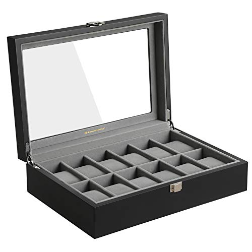 SONGMICS 12 Slots Wooden Watch Box, Watch Case Glass Lid, Watch Holder Removable Watch Pillows, Watch Display Velvet Lining, Metal Clasp, Black, UJOW12BK