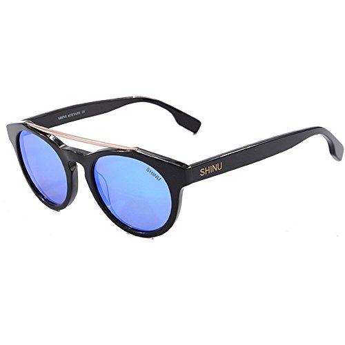 Unisex de UV400 Yxsd Gafas Hombres de Mujeres bambú Sol Retro Blue Color Madera SunglassesMAN Clásicos Black de Tonos Madera óptica de Gafas de de los EfxOxwq