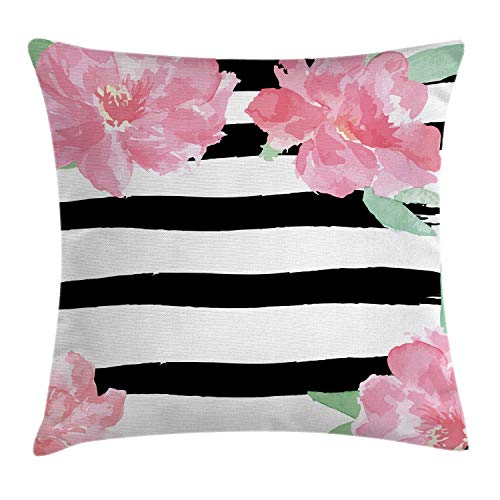 """Ambesonne Floral Throw Pillow Cushion Cover, Watercolor Peony Flowers with Black Brush Strokes Romantic Spring Print, Decorative Square Accent Pillow Case, 20"""" X 20"""", Pink White"""