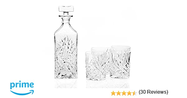 Amazon.com | SHANNON BAR SET - SHANNON CRYSTAL BAR 6 PIECE SET WITH SILVER TRAY: Wine Decanters: Decanters