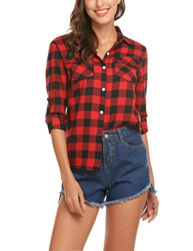 Womens Plaid Flannel (Flannel Shirt for Women Plaid Button Casual Classic Roll Up Fall Workout Blouse)