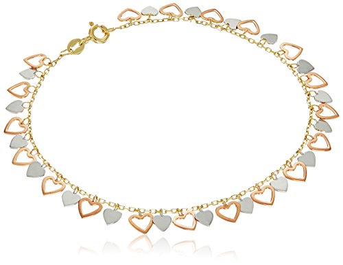 10k Charm Bracelet (10k White, Yellow and Rose Gold Hearts Charm Bracelet, 7.5