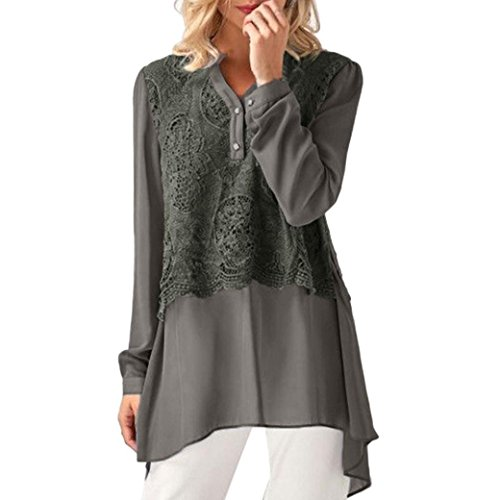 Blouse,Kstare Women's Solid Lace Patchwork Long Sleeve Chiffon Layered Tops Casual T Shirt (Gray, L)