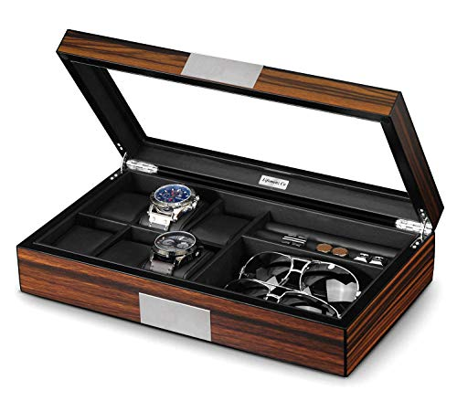 (Lifomenz Co Watch Jewelry Box for Men 6 Slot Watch Box,6 Watch Case 8 Pair Cufflinks and Sunglasses Display Box,Wood Large Watch Display Case Organizer with Real Glass Window Top)