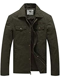 Men's Casual Canvas Cotton Military Lapel Jacket