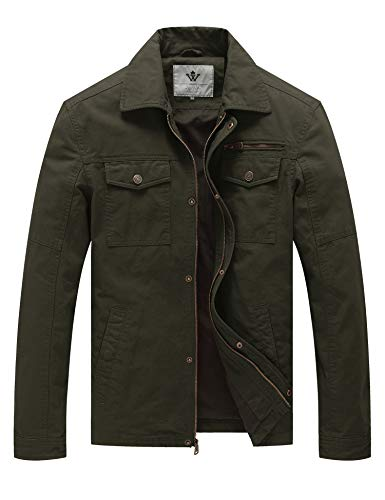 WenVen Men's Flat Collar Canvas Cotton Military Jacket (Army Green,3XL)