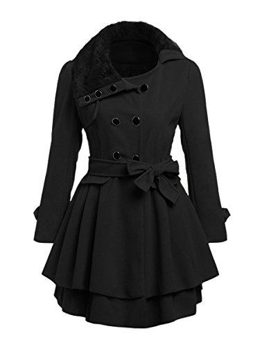 MAKEMECHIC Women's Faux Fur Double Breasted Trench Coat Laryered Hem Jacket Outwear with Belt Black M