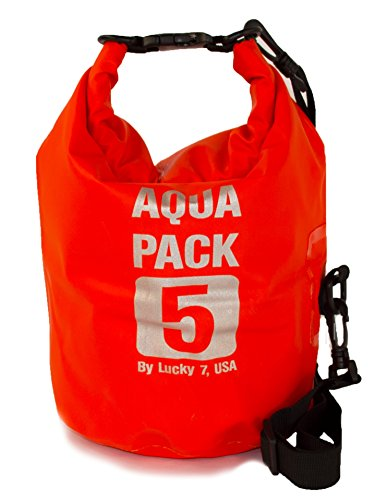 Light Durable Waterproof Dry Bag, Roll Top Utility Sack with Shoulder Strap, 5L 10L (Red, Medium)