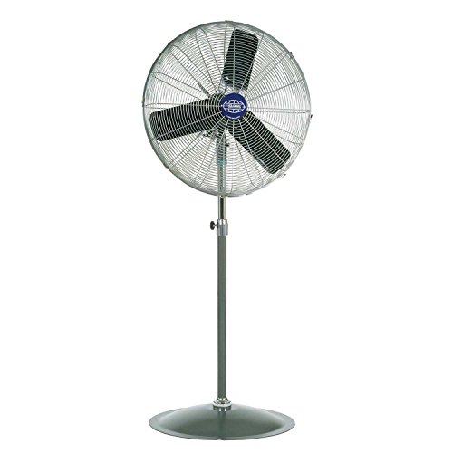 "Global Industrial T9F585279 Oscillating Pedestal Fan, 24"" Diameter, 1/4HP, 7525CFM, Black/Gray/Silver"