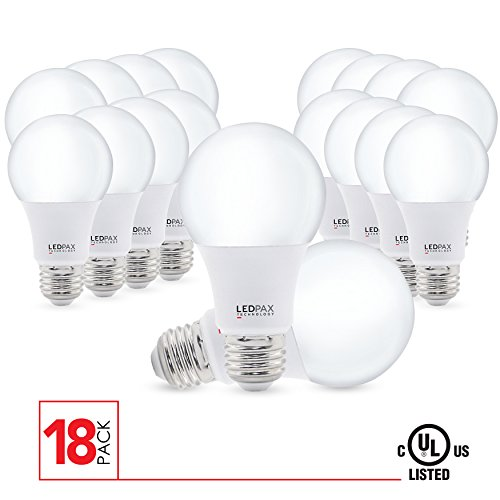 A19 LED Light Bulbs Non Dimmable, 9.5W (60W equivalent), 2700K, 800 Lumens, (18 Pack), UL Listed