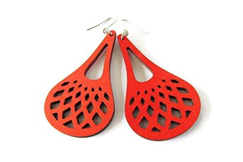(Lightweight Red Net Patterned Wooden Teardrop Modern Boho Earrings for Women)