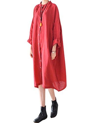 Youlee Mujer Cuello polo Talla extra Blusa Vestir Rojo