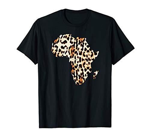 Cool Cheetah Leopard Print Africa Map T-Shirt