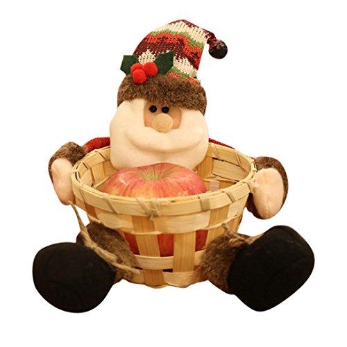 Christmas Candy Storage Basket,IEason Christmas Candy Storage Basket Decoration Santa Claus Storage Basket Gift (A)