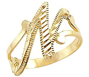 "Amazon.com: 14k Yellow Gold Initial Letter Ring ""N"": Right"
