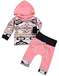 2Pcs Baby Girls' Fall Winter Long Sleeve Floral Geometric Print Hoodie + Pants Outfit Set