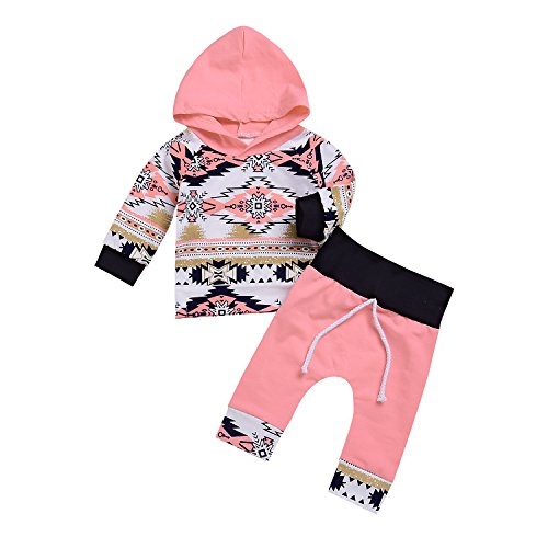 2Pcs Baby Girls Fall Winter Long Sleeve Floral Geometric Print Hoodie + Pants Outfit Set (0-6M, Pink) - Sweater Baby Set