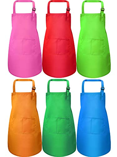 Syhood 6 Pieces Kids Apron with Pocket Adjustable Children Chef Apron for Baking Painting Cooking (Color 2)