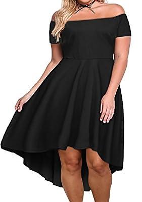Nemidor Women's Off Shoulder Short Sleeve High Low Plus Size Cocktail Skater Dress
