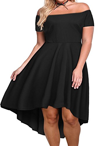 Nemidor Women's Off Shoulder Short Sleeve High Low Plus Size Cocktail Skater Dress (26W, Black)