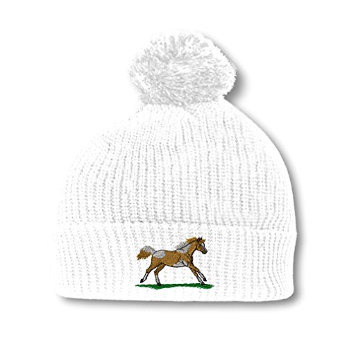 Running Paint Horse Embroidery Embroidered Pom Pom Beanie Skully Hat Cap ()
