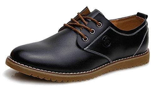 Diffyou Heren Klassieke Veter Laag Uitgesneden Formele Lederen Oxfords Schoenen Zwart