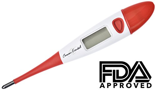 FDA Approved 10 Second Fast Read Clinical Digital Thermometer with EASY to Read Large LCD and Flexible Tip for Oral, Rectal and Axillary use for Baby, Adult and Children (Red)