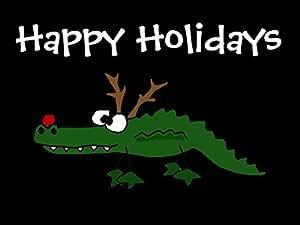 Funny Christmas Alligator As Reindeer Indoor/Outdoor Doormat