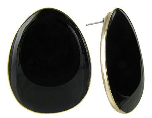 Large Disc Earrings (Large Oval Stud Earrings in Black Colored Enamel and Gold Plating)