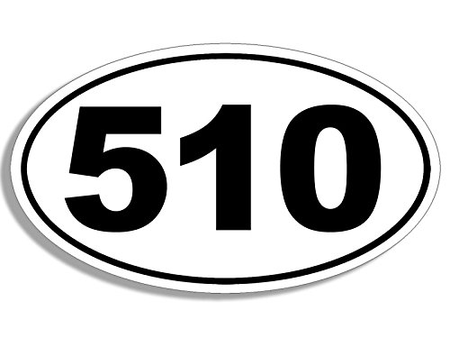 510 Vinyl - WHITE Oval 510 Area Code Sticker (bay oakland alamedy county calif)