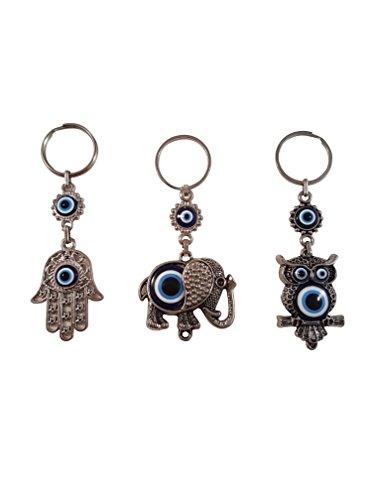 Bead Global Turkish Blue Evil Eye Keychain Amulet - Hamsa Hand of Fatima - Elephant and Owl - Gift for Men or Women (Set of ()