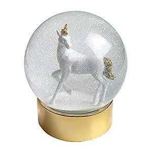 Talking bord enhörning snöglobe, flerfärgad, 10 cm diameter