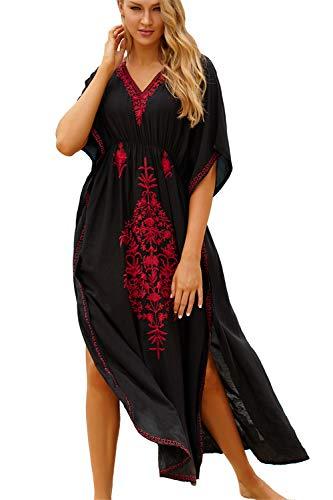 L-Peach Kaftan voor dames, katoen, loungewear, boho, homewear, oversized kimono maxi-strandjurk, cover-ups, badjassen