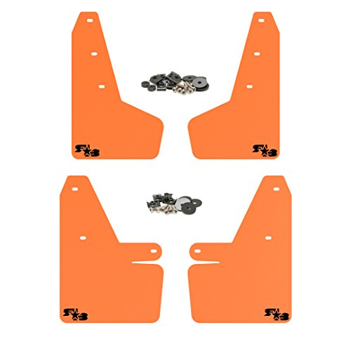 Sour Splash - RokBlokz Mud Flaps for 2018 + Subaru Crosstrek - Multiple Colors Available - Mud Guards are Custom Cut and Fit - Includes All Mounting Hardware (Orange with Black Logo)