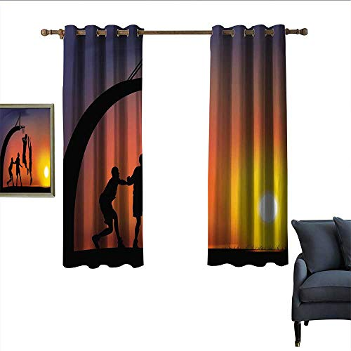"""longbuyer Teen Room Decor Blackout Curtains Boys Playing Basketball at Sunset Horizon Sky Dramatic Scene Home Garden Bedroom Outdoor Indoor Wall Decorations 55"""" Wx63 L Dark Coral Black Yellow from longbuyer"""
